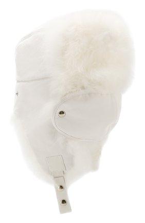 Женский шапка-ушанка с мехом GIORGIO ARMANI белого цвета, арт. 797307/9A599   Фото 2