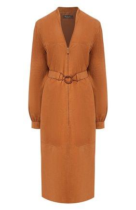 Женское кожаное платье LORO PIANA коричневого цвета, арт. FAI6923 | Фото 1
