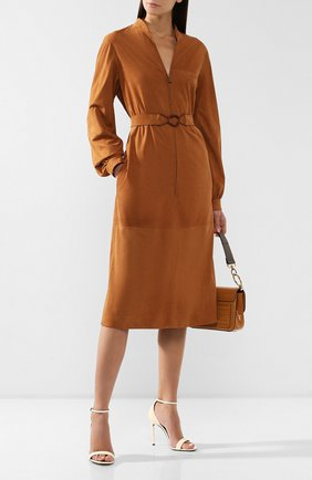 Женское кожаное платье LORO PIANA коричневого цвета, арт. FAI6923 | Фото 2