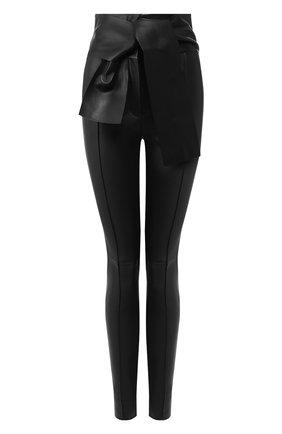 Женские кожаные брюки VALENTINO черного цвета, арт. SB3NF00V45H | Фото 1