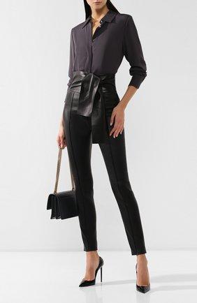 Женские кожаные брюки VALENTINO черного цвета, арт. SB3NF00V45H | Фото 2