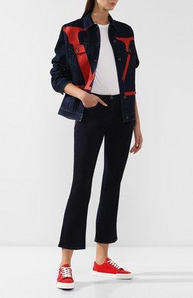 Женские расклешенные джинсы VALENTINO темно-синего цвета, арт. SB3DD08R4MY | Фото 2