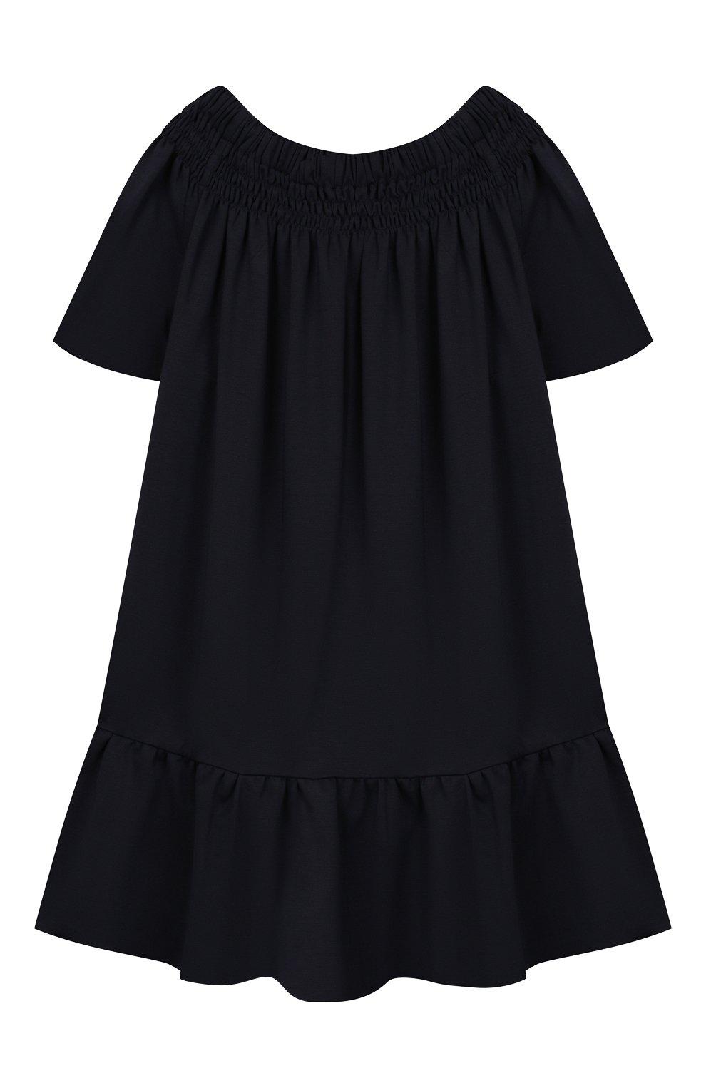 Детское платье CAF синего цвета, арт. 308-XX-AI1920/6A-8A | Фото 1 (Принт: Без принта; Рукава: Короткие; Ростовка одежда: 7 лет | 122 см, 8 лет | 128 см)