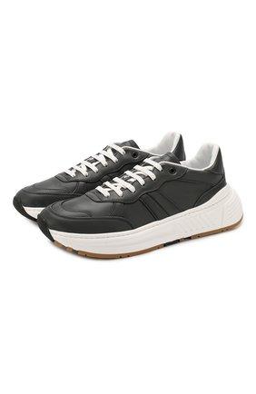 Мужские кожаные кроссовки BOTTEGA VENETA темно-серого цвета, арт. 565646/VT040 | Фото 1