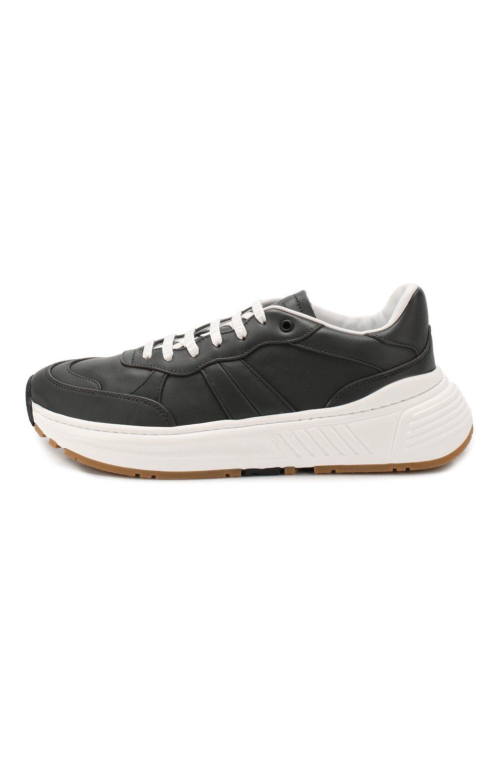 Мужские кожаные кроссовки BOTTEGA VENETA темно-серого цвета, арт. 565646/VT040 | Фото 3