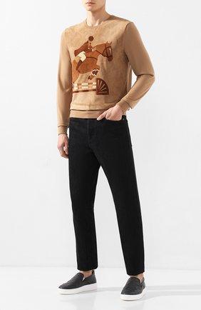 Мужские кожаные слипоны BOTTEGA VENETA темно-серого цвета, арт. 578303/VBPG1 | Фото 2