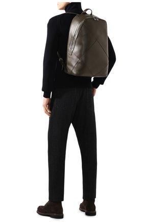 Мужской кожаный рюкзак BOTTEGA VENETA хаки цвета, арт. 580155/VBIU0 | Фото 2