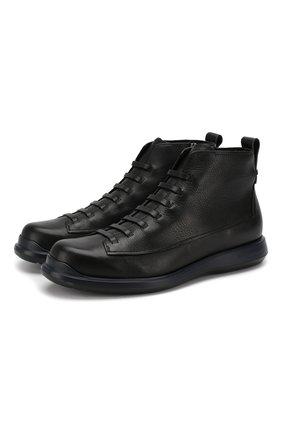 Мужские кожаные ботинки GIORGIO ARMANI черного цвета, арт. X2M305/XF414 | Фото 1