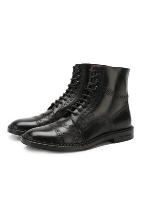 Мужские кожаные ботинки DOLCE & GABBANA черного цвета, арт. A60230/AA385 | Фото 1
