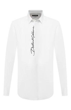 Мужская хлопковая сорочка DOLCE & GABBANA белого цвета, арт. G5GL9Z/FU5K9 | Фото 1