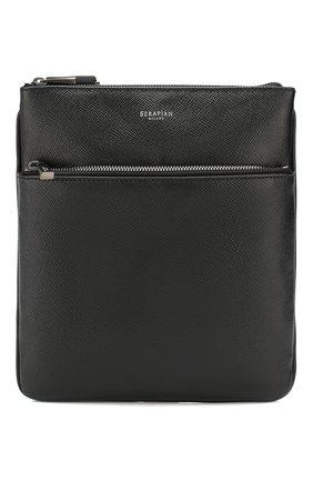 Мужская кожаная сумка-планшет SERAPIAN черного цвета, арт. SEV0LMML6794M23D | Фото 1