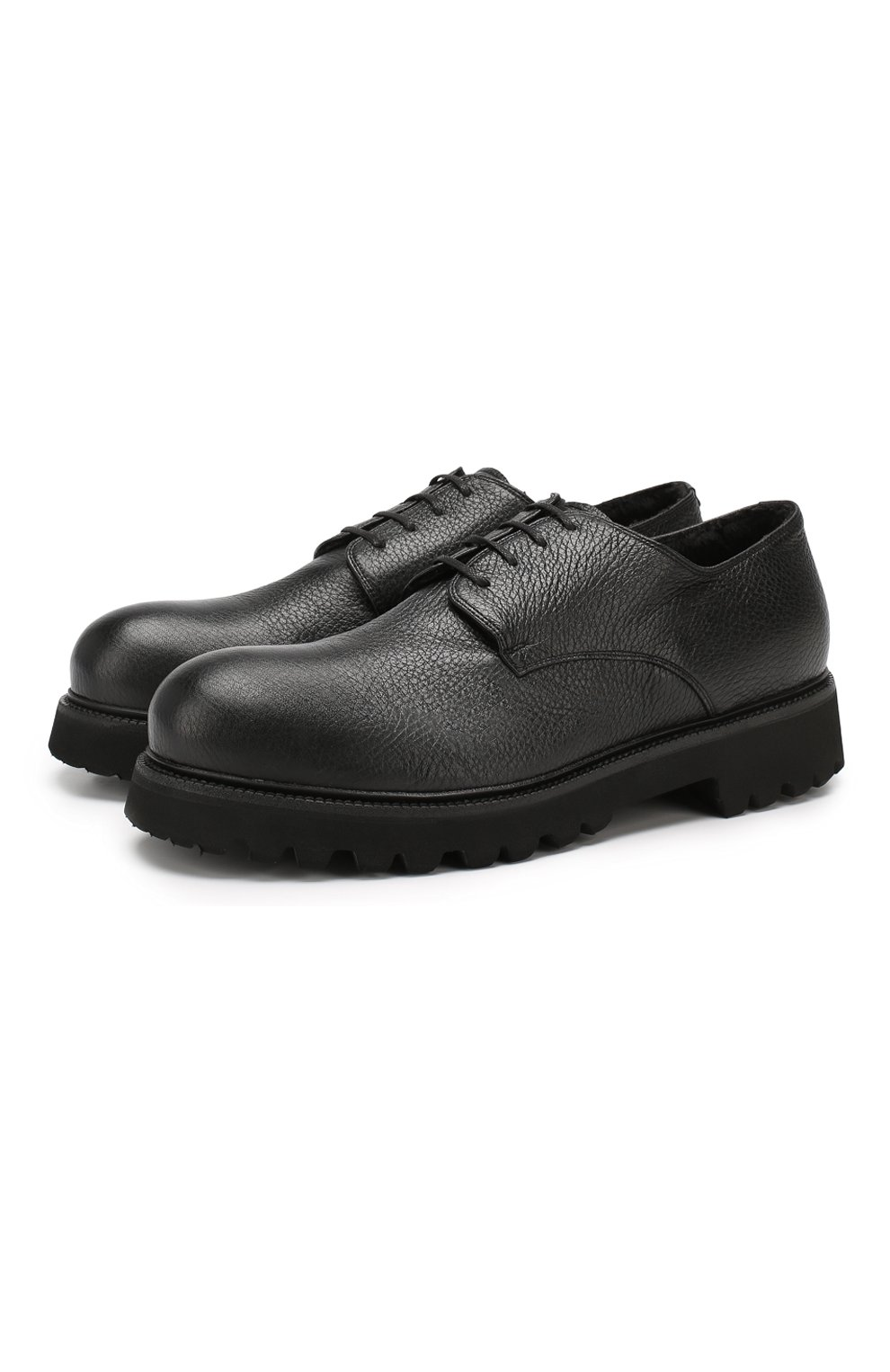 Мужские кожаные ботинки ROCCO P. черного цвета, арт. 9013/R0CK DEER | Фото 1