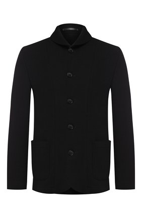 Мужской шерстяной пиджак GIORGIO ARMANI черного цвета, арт. 9SGGG077/J002M | Фото 1