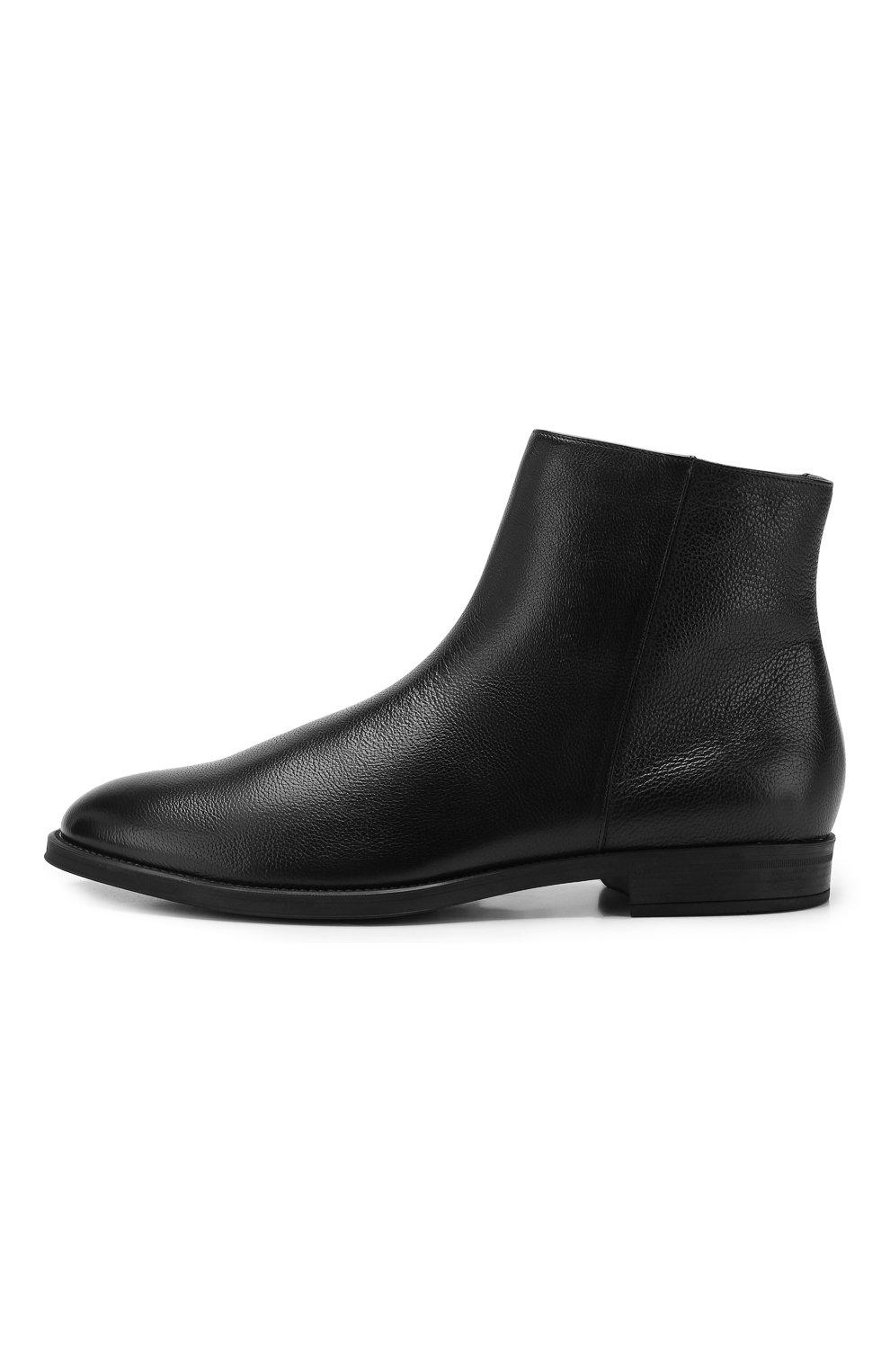 Мужские кожаные сапоги BOSS черного цвета, арт. 50418079   Фото 3