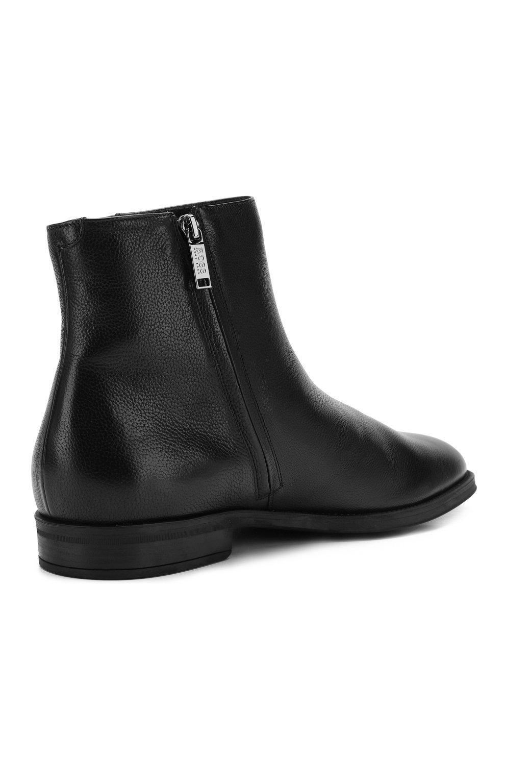 Мужские кожаные сапоги BOSS черного цвета, арт. 50418079   Фото 4