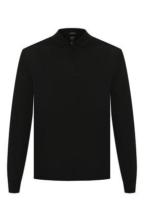 Мужское поло из смеси шерсти и шелка BOSS черного цвета, арт. 50391480 | Фото 1