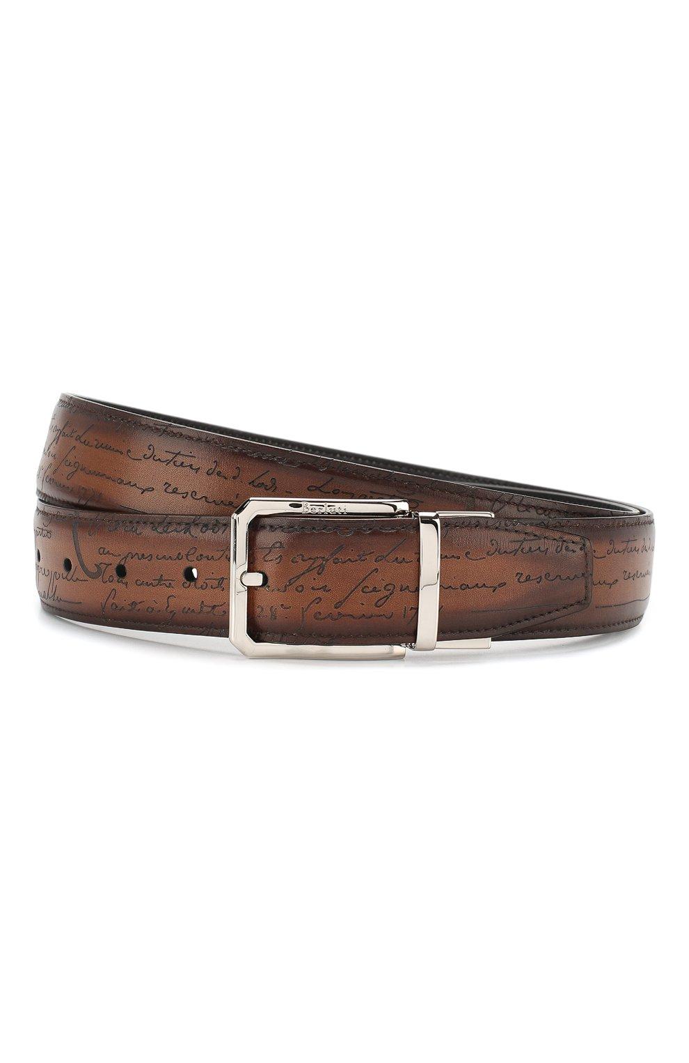 Мужской кожаный ремень BERLUTI коричневого цвета, арт. C0028-002 | Фото 1