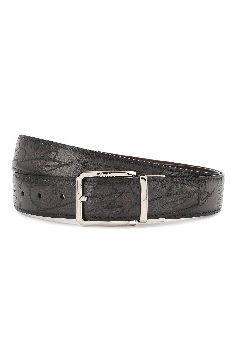Мужской кожаный ремень BERLUTI черного цвета, арт. C0028-005 | Фото 1
