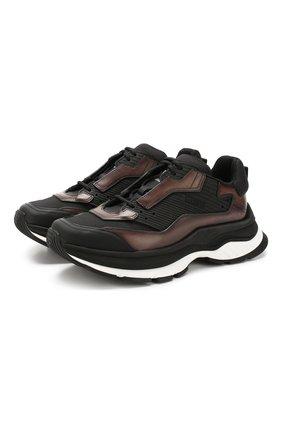 Мужские комбинированные кроссовки BERLUTI коричневого цвета, арт. S4781-005 | Фото 1
