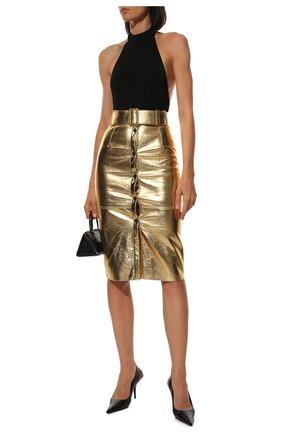 Женская юбка с поясом MSGM золотого цвета, арт. 2741MDD11 195616 | Фото 2