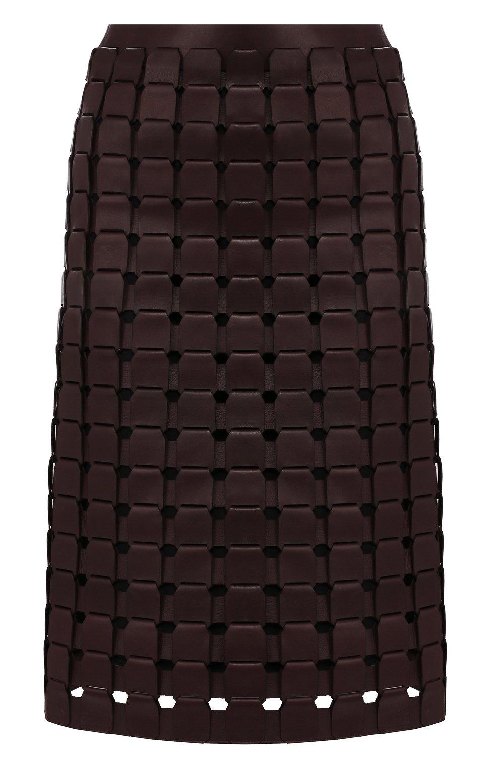 Женская кожаная юбка BOTTEGA VENETA фиолетового цвета, арт. 586006/VF3G0   Фото 1