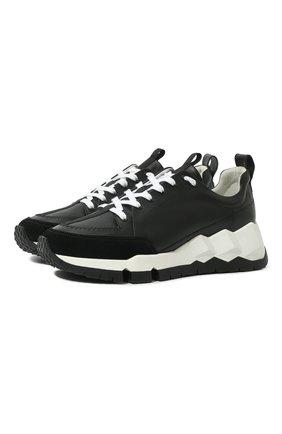 Мужские кожаные кроссовки PIERRE HARDY черного цвета, арт. QX02/CALF   Фото 1