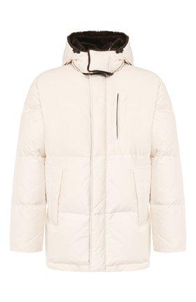Мужская пуховая куртка с меховой отделкой BRIONI белого цвета, арт. SUMU0L/08803 | Фото 1