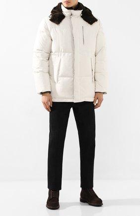 Мужская пуховая куртка с меховой отделкой BRIONI белого цвета, арт. SUMU0L/08803 | Фото 2