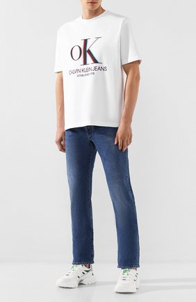Мужская хлопковая футболка EST.1978 CALVIN KLEIN JEANS белого цвета, арт. J90J900158 | Фото 2