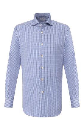 Мужская хлопковая сорочка KITON синего цвета, арт. UCCH0709310 | Фото 1