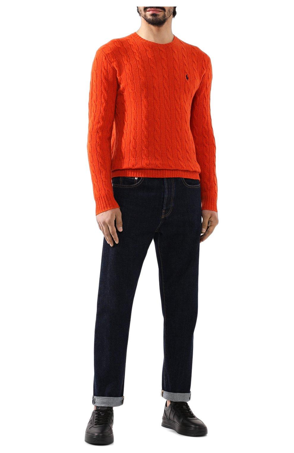 Мужской джемпер из смеси шерсти и кашемира POLO RALPH LAUREN оранжевого цвета, арт. 710719546 | Фото 2