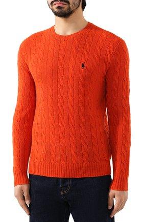 Мужской джемпер из смеси шерсти и кашемира POLO RALPH LAUREN оранжевого цвета, арт. 710719546 | Фото 3