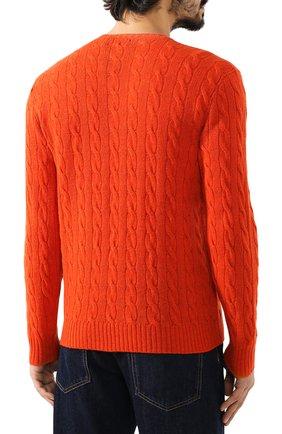 Мужской джемпер из смеси шерсти и кашемира POLO RALPH LAUREN оранжевого цвета, арт. 710719546 | Фото 4