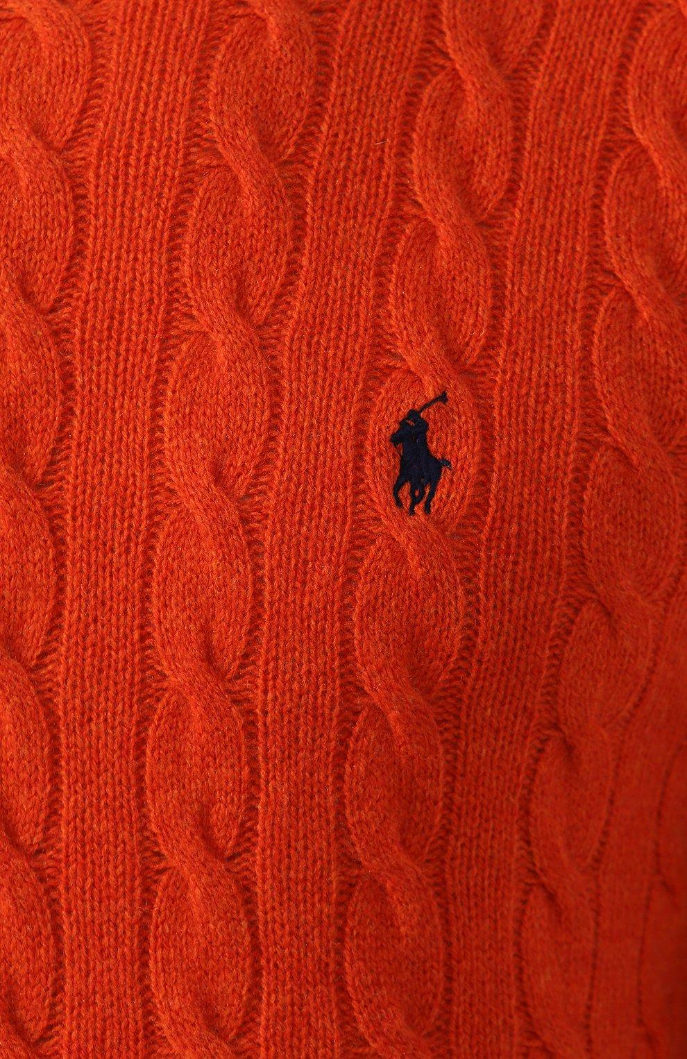 Мужской джемпер из смеси шерсти и кашемира POLO RALPH LAUREN оранжевого цвета, арт. 710719546 | Фото 5