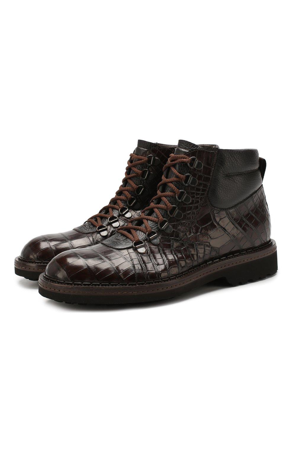 Мужские ботинки из кожи крокодила BARRETT темно-коричневого цвета, арт. 192U007.1/C0CC0DRILL0 CREAM/CNIL   Фото 1