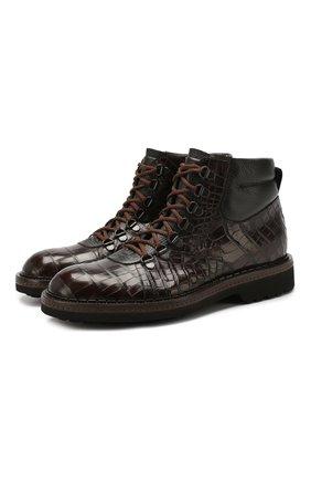 Мужские ботинки из кожи крокодила BARRETT темно-коричневого цвета, арт. 192U007.1/C0CC0DRILL0 CREAM/CNIL | Фото 1