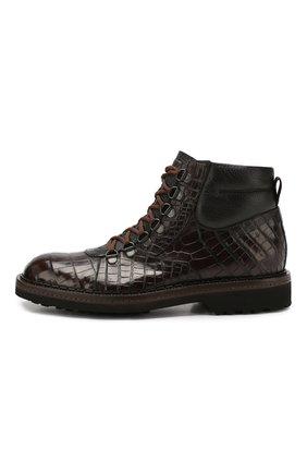 Мужские ботинки из кожи крокодила BARRETT темно-коричневого цвета, арт. 192U007.1/C0CC0DRILL0 CREAM/CNIL   Фото 3