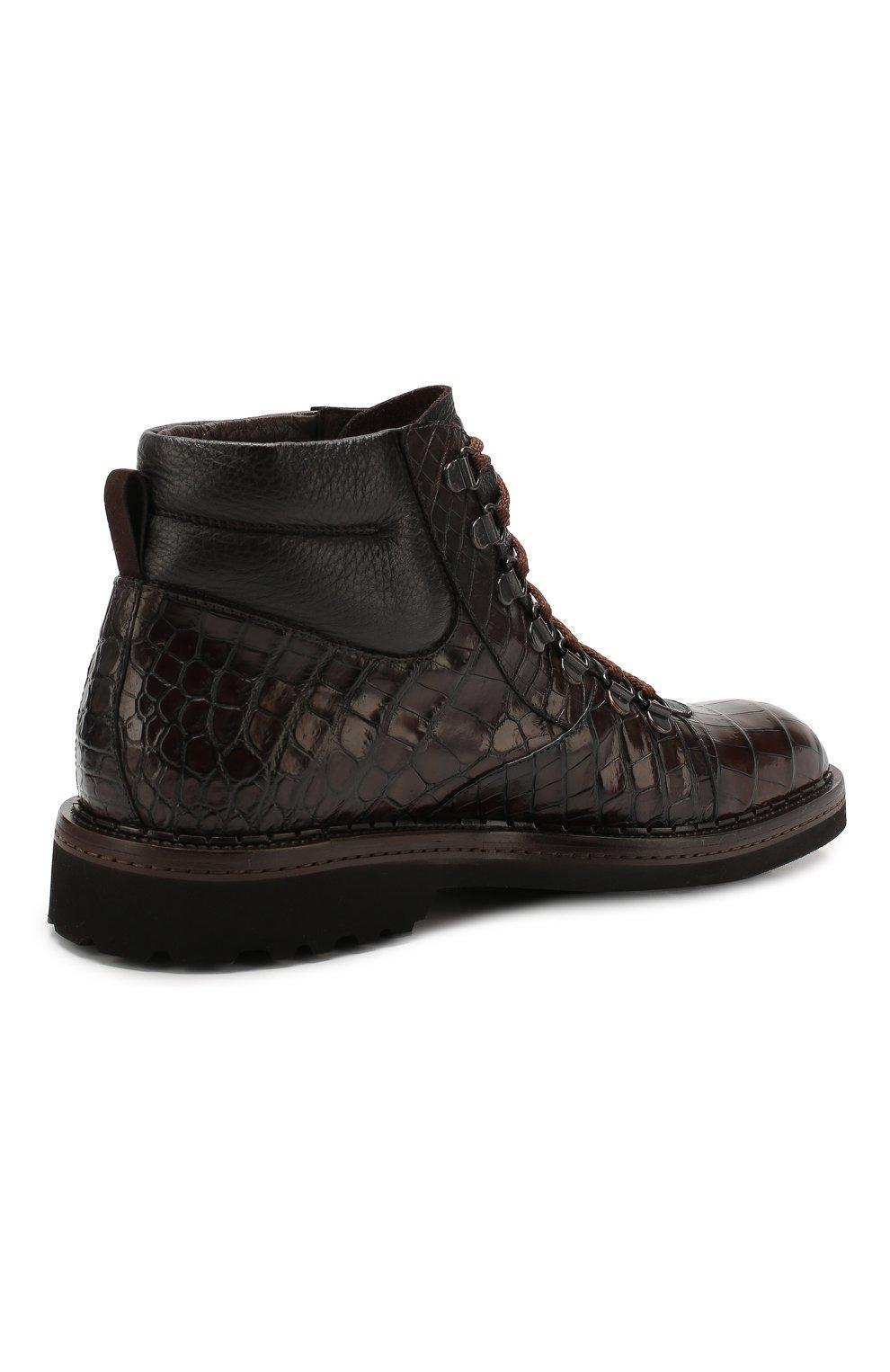 Мужские ботинки из кожи крокодила BARRETT темно-коричневого цвета, арт. 192U007.1/C0CC0DRILL0 CREAM/CNIL   Фото 4