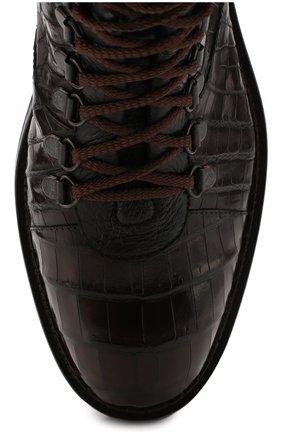 Мужские ботинки из кожи крокодила BARRETT темно-коричневого цвета, арт. 192U007.1/C0CC0DRILL0 CREAM/CNIL   Фото 5