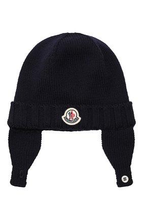 Детского шерстяная шапка MONCLER ENFANT синего цвета, арт. E2-951-99232-05-A9111 | Фото 1