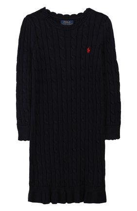 Детское хлопковое платье POLO RALPH LAUREN темно-синего цвета, арт. 313758407 | Фото 1