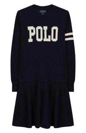 Детское платье из шерсти и хлопка POLO RALPH LAUREN темно-синего цвета, арт. 313751081 | Фото 1