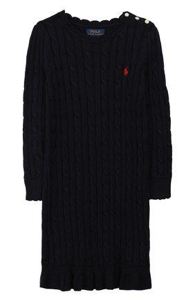 Детское хлопковое платье POLO RALPH LAUREN темно-синего цвета, арт. 312758407 | Фото 1