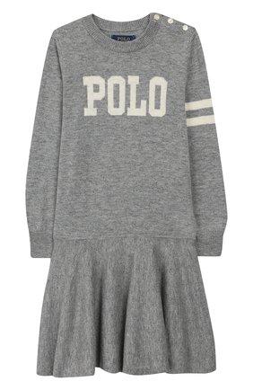Детское платье из шерсти и хлопка POLO RALPH LAUREN серого цвета, арт. 312751081 | Фото 1