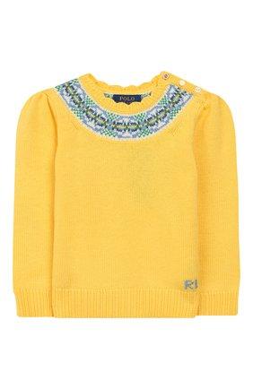 Детский пуловер из хлопка и шерсти POLO RALPH LAUREN желтого цвета, арт. 312751042 | Фото 1