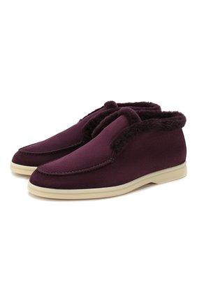 Женские замшевые ботинки open walk LORO PIANA фиолетового цвета, арт. FAG3602 | Фото 1