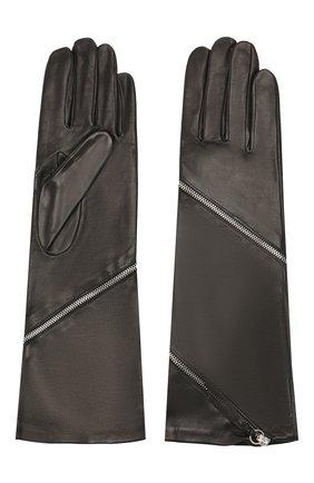 Женские кожаные перчатки AGNELLE черного цвета, арт. ZIPPER/S | Фото 2