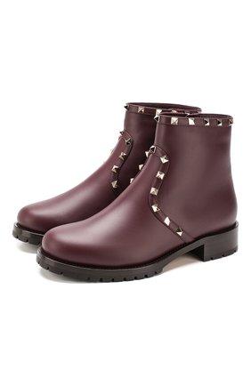 Женские кожаные ботинки valentino garavani rockstud VALENTINO бордового цвета, арт. SW0S0I57/XHQ | Фото 1