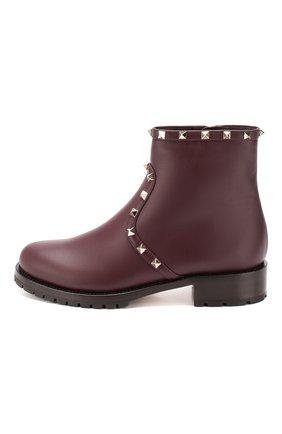 Женские кожаные ботинки valentino garavani rockstud VALENTINO бордового цвета, арт. SW0S0I57/XHQ | Фото 3
