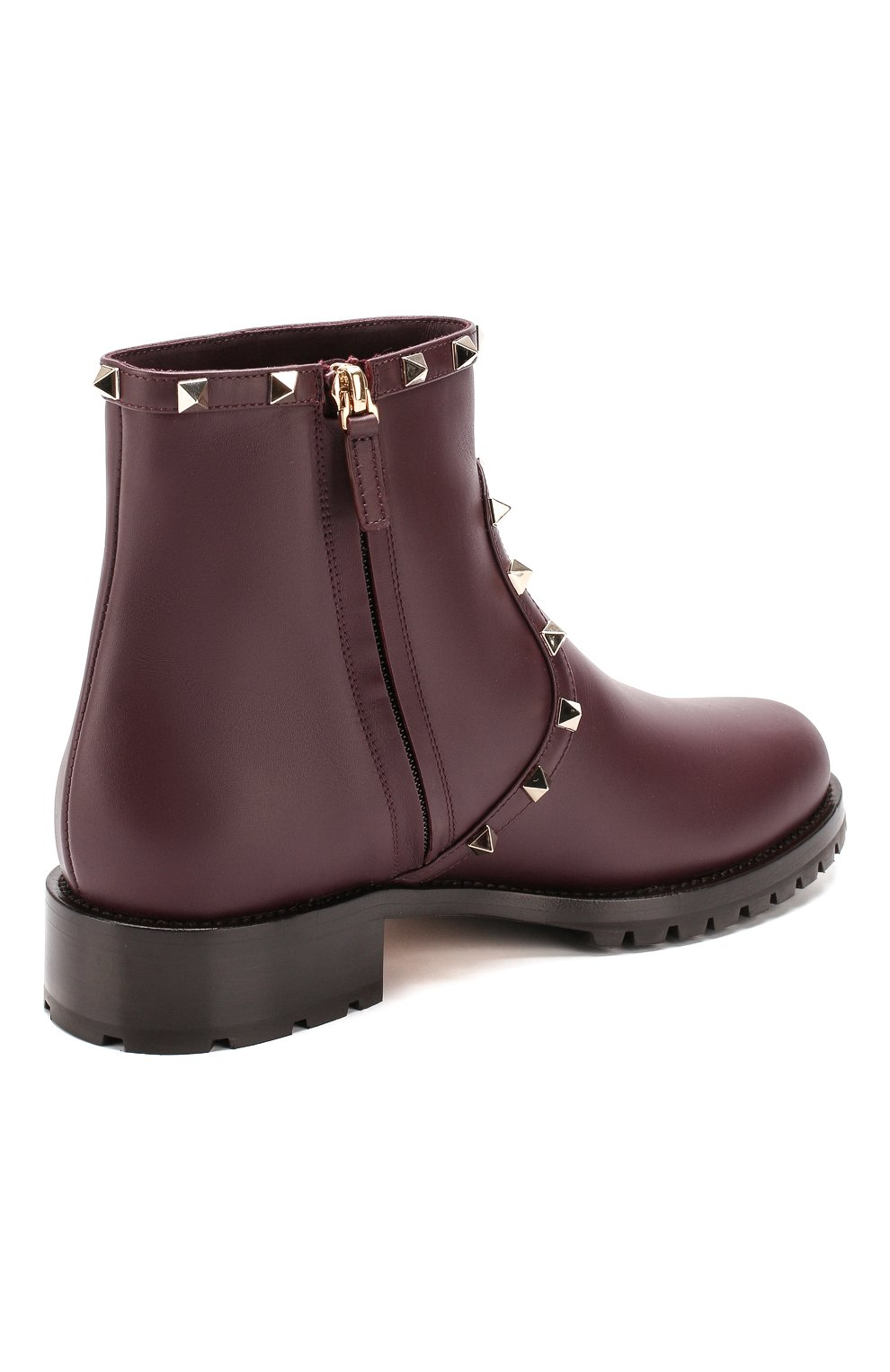 Женские кожаные ботинки valentino garavani rockstud VALENTINO бордового цвета, арт. SW0S0I57/XHQ | Фото 4